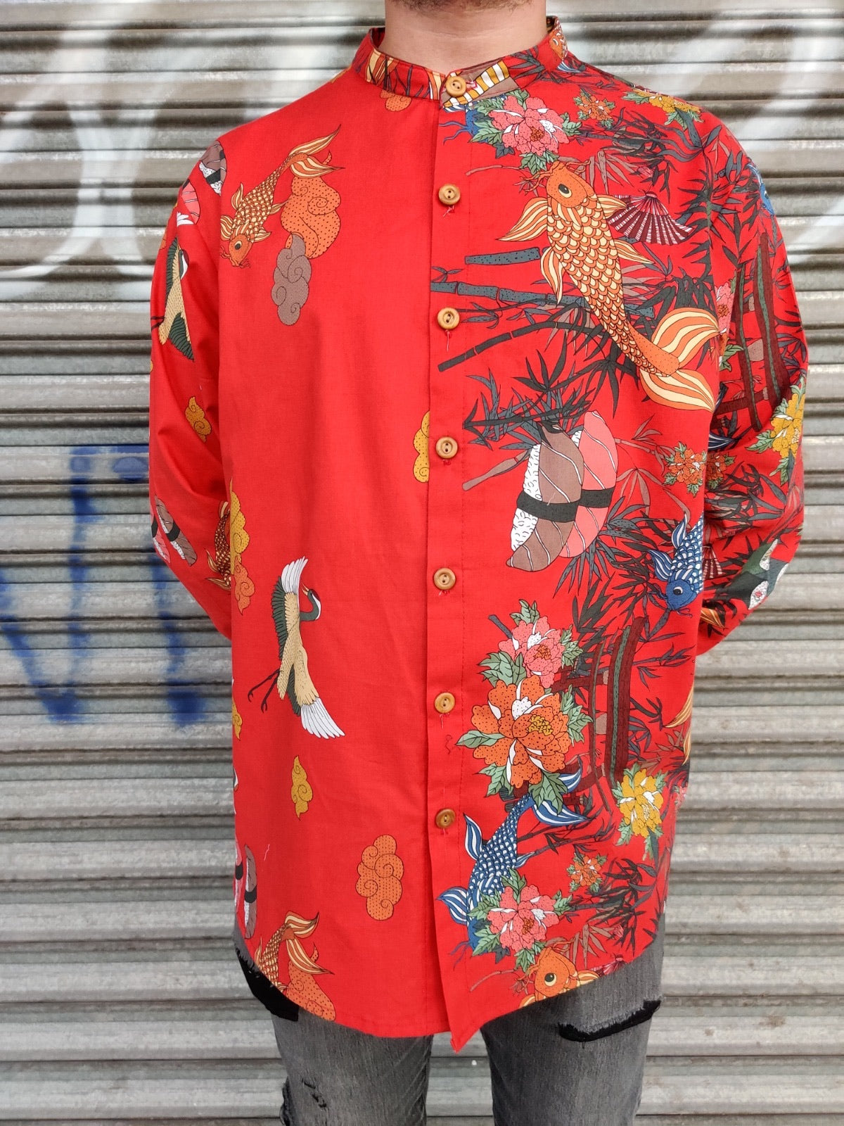 One-of-a-kind Gold Koi Rounded Collar Shirt