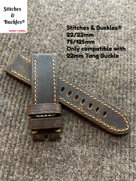 22/22mm Vintage Dark Brown Calf Leather Watch Strap