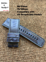 28/24mm Handmade Distressed Blue Calf Leather Strap for All Sevenfriday Models