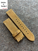 22/22mm Suede Brown Calf Leather Watch Strap