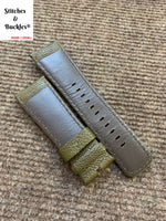 28/24mm Olive Textured Calf Leather Watch Strap for All Sevenfriday Models