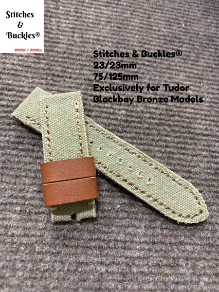 23/23mm Handmade Military Khaki Canvas Leather Strap for Tudor BlackBay Bronze Models