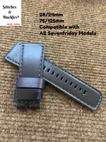 28/24mm Handmade Blue Calf Leather Strap for All Sevenfriday Models