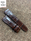 22/18mm Burgundy Alligator Embossed Calf Leather Strap for IWC Pilot Models