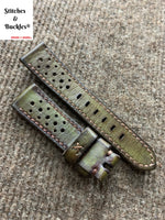 20/18mm Handmade Olive Calf Racing Leather Strap
