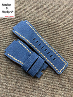 24/24mm Handmade Denim Blue Canvas Leather Strap For Bell & Ross 01/03 Models