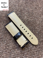 22/20mm Black Alligator Embossed Calf Leather Watch Strap