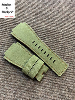 24/24mm Handmade Green Canvas Leather Strap For Bell & Ross 01/03 Models