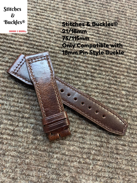 21/18mm Burgundy Calf Leather Strap for IWC 3717/3777 Pilot Chronograph