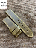24/24mm Olive Calf Leather Strap For Panerai 44mm Luminor/Submersible