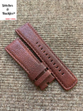 28/24mm Oxblood Textured Calf Leather Watch Strap for All Sevenfriday Models