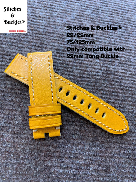 22/22mm Yellow Calf Leather Watch Strap