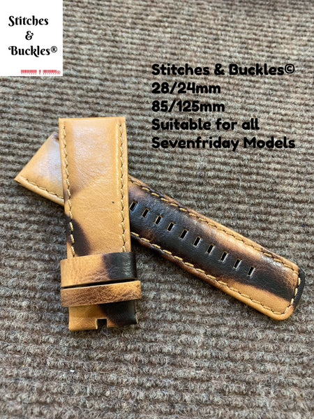 28/24mm Desert Camo Calf Leather Watch Strap for all Sevenfriday Models