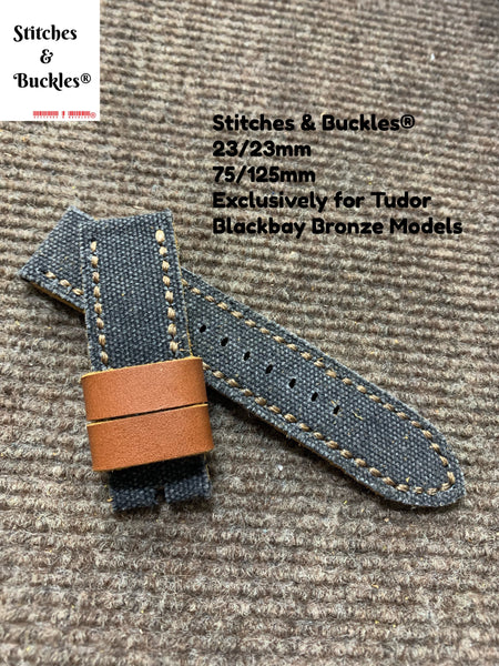 23/23mm Handmade Black Canvas Leather Strap for Tudor BlackBay Bronze Models
