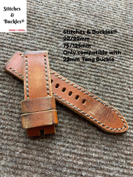 22/22mm Handmade Vintage Distressed Brown Calf Leather Strap