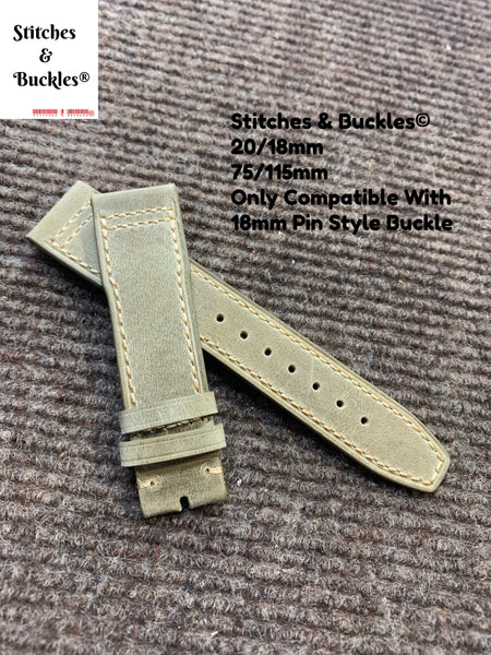 20/18mm Grey Calf Leather Watch Strap for IWC Mark 17/18 Models