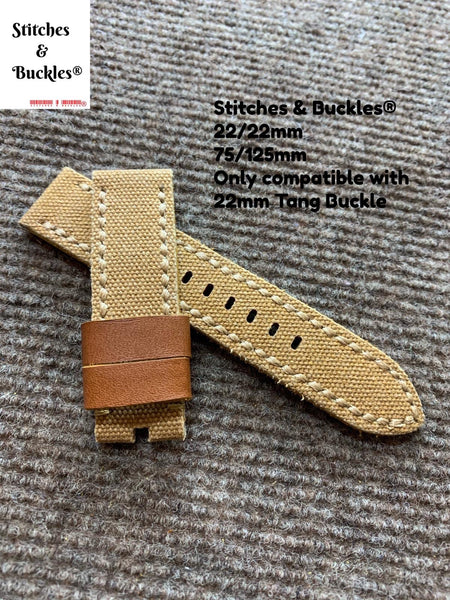 22/22mm Handmade Vintage Khaki Brown Canvas Calf Leather Watch Strap