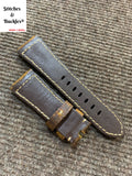 26/22mm Dark Brown Vintage Calf Leather Strap For Panerai Radiomir & 47mm Luminor/Submersible Models