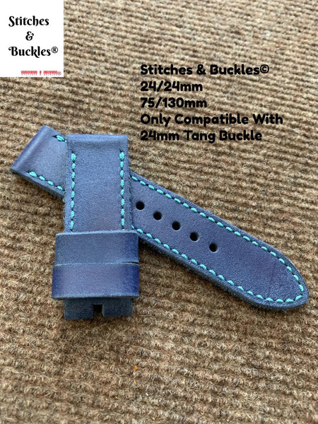 24/24mm Handmade Blue Calf Leather Watch Strap