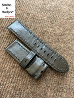 26/26mm Black Calf Leather Watch Strap