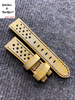 20/18mm Handmade Stonewash Yellow Calf Racing Leather Strap