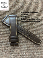 21/18mm Dark Brown Calf Leather Strap for IWC 3717/3777 Pilot Chronograph Models