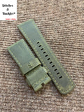28/24mm Handmade Military Green Calf Leather Strap for all Sevenfriday Models