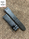 20/18mm Black Alligator Embossed Calf Leather Strap for IWC Mark 16/17/18/19 Pilot Models