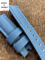 24/22mm Aquamarine Canvas Leather Watch Strap for Panerai 44mm Luminor/Submersible Models