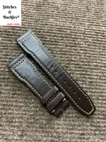 21/18mm Brown Calf Leather Watch Strap for IWC 3717/3777 Pilot Chronograph Models