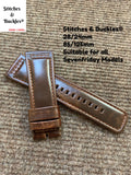 28/24mm Burgundy Calf Leather Watch Strap for All Sevenfriday Models