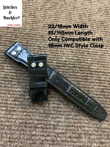 22/18mm Riveted Black Alligator Embossed Calf Leather Watch Strap for IWC Big Pilot Clasp Models
