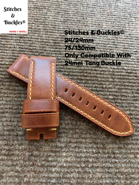 24/24mm Tan Brown Calf Leather Strap For Panerai 44mm Luminor / Submersible Models