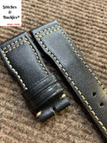 21/18mm Black Calf Leather Strap for IWC 3717/3777 Pilot Chronograph Models