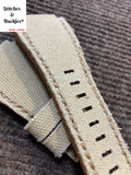 24/24mm Handmade Cream Canvas Leather Strap For Bell & Ross 01/03 Models