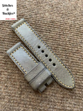 24/24mm Vintage Handmade Grey Calf Leather Strap