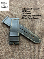 24/24mm Dark Grey Calf Leather Strap For Panerai 44mm Models