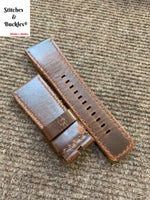 28/24mm Handmade Distressed Brown Calf Leather Strap for All Sevenfriday Models