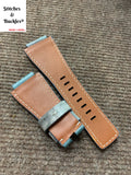 24/24mm Handmade Blue Camo Calf Leather Strap for Bell & Ross 01/03 Models