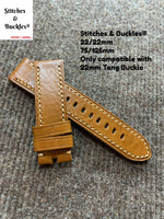 22/22mm Light Tan Brown Calf Leather Watch Strap