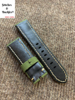 24/22mm Green Canvas Leather Watch Strap For Panerai 44mm Luminor/Submersible Models