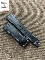 21/18mm Black Calf Leather Watch Strap for IWC 3717/3777 Pilot Chronograph Models