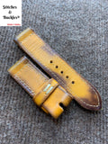 26/26mm Vintage Handmade Burnt Yellow Calf Leather Watch Strap