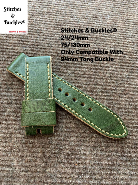 24/24mm Vintage Handmade Green Calf Leather Watch Strap
