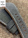 24/24mm Handmade Black Canvas Leather Strap For Bell & Ross 01/03 Models