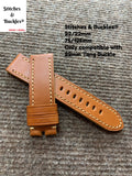 22/22mm Tan Calf Leather Watch Strap