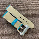 26/24mm Handmade Genuine Aquamarine Blue Alligator Strap With Lume Buckle