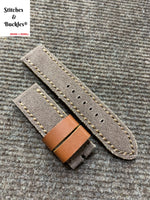 23/23mm Handmade Brown Canvas Leather Strap for Tudor BlackBay Bronze Models
