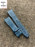 21/18mm Blue Calf Leather Watch Strap for IWC 3717/3777 Pilot Chronograph Models