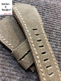 24/24mm Handmade Brown Canvas Leather Strap For Bell & Ross 01/03 Models